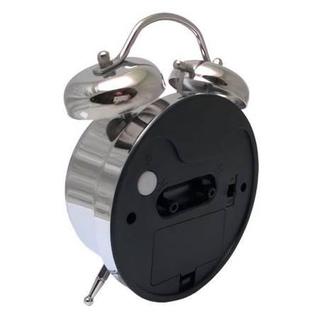 Budzik biurkowy srebrny metal  BELL ALARM ATB045B