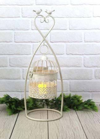 Świecznik metalowy klatka retro taras salon 51 cm