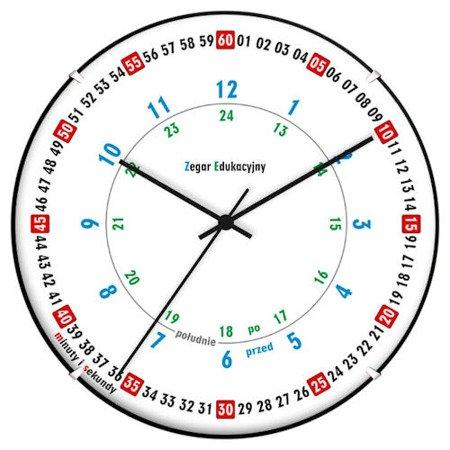 Zegar ATRIX dziecięcy 28 cm nauka godzin edukacyjny kolorowy ATE900ED SW BK