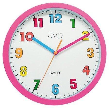 Zegar JVD dziecięcy 25 cm różowy KOLOROWY HA46.2