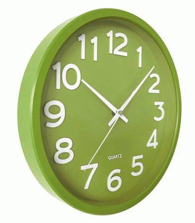 Zegar JVD ścienny CICHY zielony czytelny HX2413.4