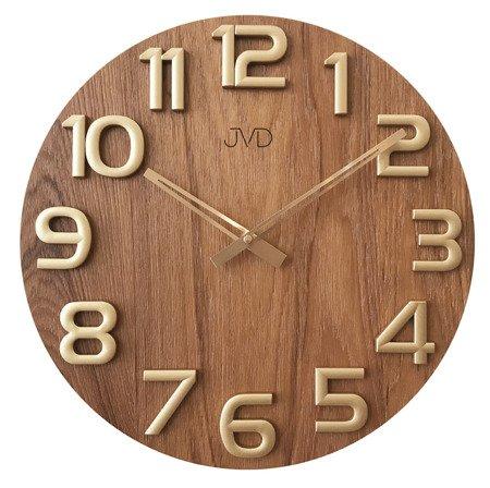 Zegar JVD ścienny DREWNIANY złoty 40 cm HT97.5