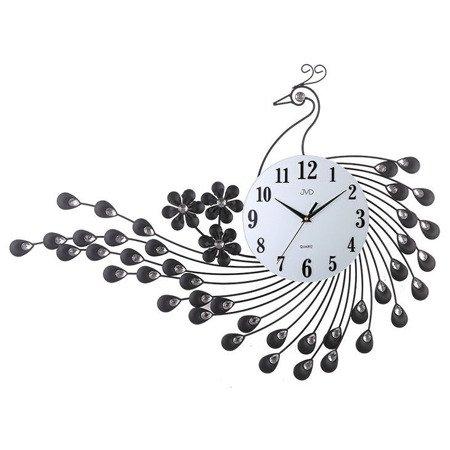 Zegar JVD ścienny PAW KRYSZTAŁY stal duży 74 x53 cm HJ92
