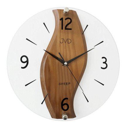 Zegar JVD ścienny SZKŁO DREWNO 30 cm NS19036.11