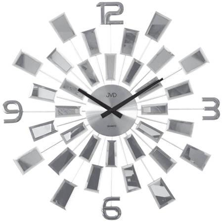 Zegar JVD ścienny srebrny lustra DUŻY 49cm HT100.1