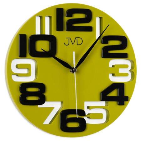 Zegar JVD ścienny zielony cyfry 3D HT107.3