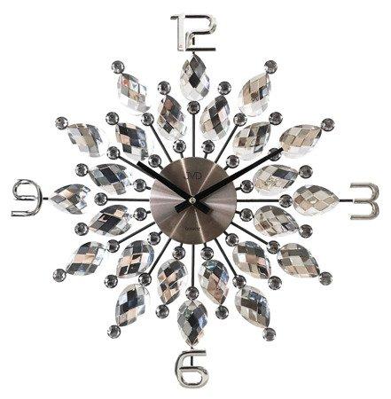 Zegar ścienny DESIGNERSKI grafitowy kryształy stal duży  HT54.1