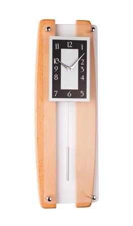 Zegar ścienny JVD Z WAHADŁEM szkło drewno N12033.68