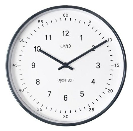 Zegar ścienny JVD nowoczesny czarny błyszczący HT080.2