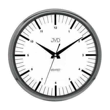 Zegar ścienny JVD nowoczesny grafit błyszczący HT078.3