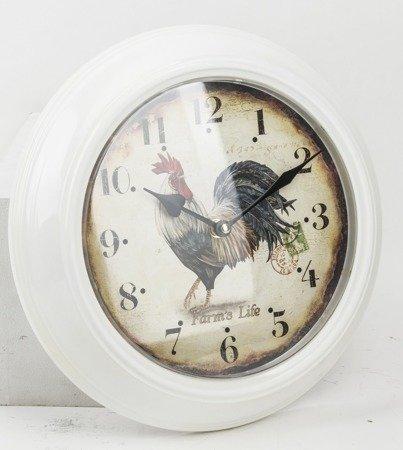 Zegar ścienny METALOWY kogut 30 cm cm retro 93342