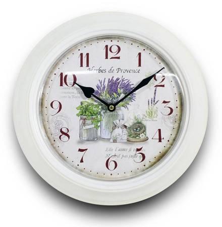 Zegar ścienny METALOWY lawenda biały RETRO 93343