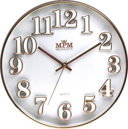 Zegar ścienny bladoróżowe złoto nowoczesny czytelny E01.3222.00