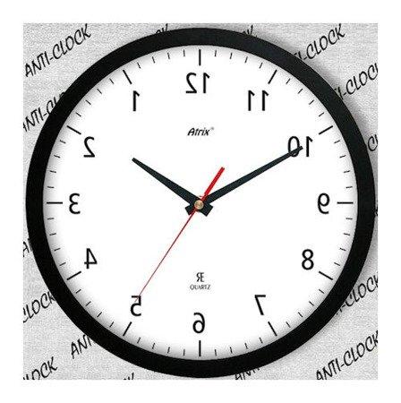 Zegar ścienny chodzący do tyłu lustrzany ACE2013AL BK