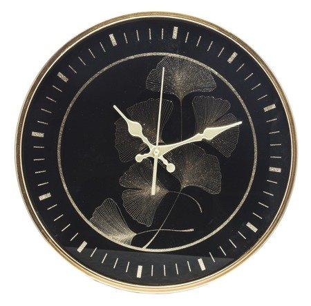 Zegar ścienny czarno-złoty ELEGANCKI 37cm 130842