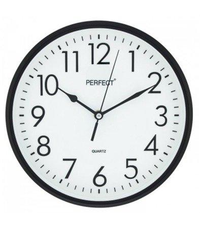 Zegar ścienny czarny nowoczesny czytelny tworzywo FX-5742 Black