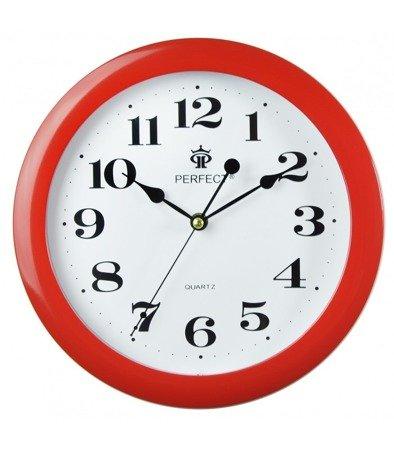 Zegar ścienny czerwony nowoczesny czytelny tworzywo LA-17 Red