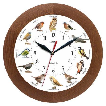Zegar ścienny głosy ptaków drewno ATW300PK2 CD SW