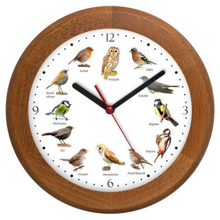 Zegar ścienny głosy ptaków drewno ATW301PK3 SW JD