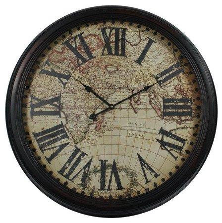Zegar ścienny metalowy retro duży mapa 80541