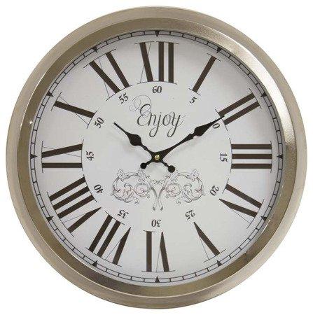 Zegar ścienny metalowy srebrny nowoczesny elegancki  średni 106490