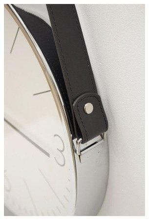 Zegar ścienny metalowy ze skórzanym paskiem średni 103728