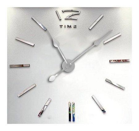 Zegar ścienny naklejany DIY srebrny lustro 01S2