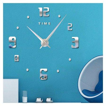 Zegar ścienny naklejany DIY srebrny lustro duży 110 cm DIY11S1