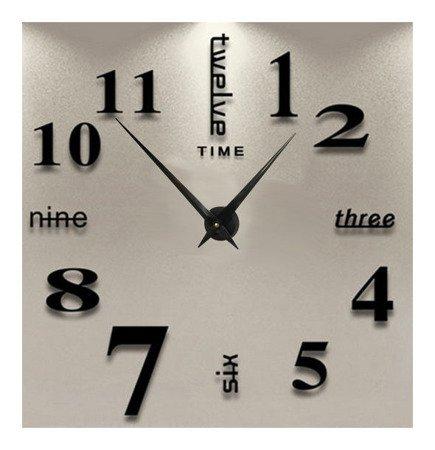 Zegar ścienny naklejany czarny bardzo DUŻY 100 cm DIY02B4