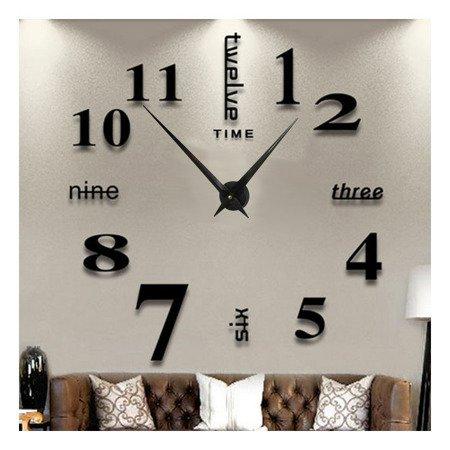Zegar ścienny naklejany czarny bardzo DUŻY 130 cm DIY02B5