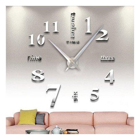 Zegar ścienny naklejany srebrny lustro duży 130 cm DIY02S5