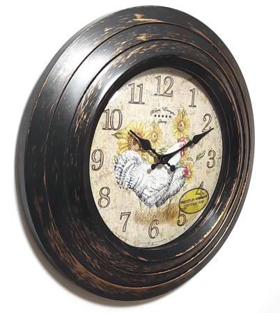 Zegar ścienny retro KURKI czarnozłoty 30 cm 0028BR