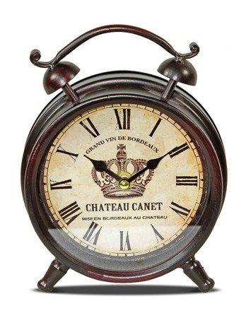Zegar stojący METALOWY brązowy retro 21 cm 77199